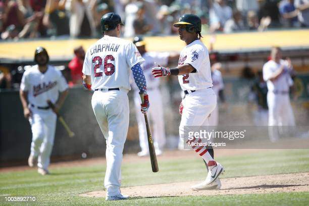 Khris Davis of the Oakland Athletics is congratulated by Matt Chapman after scoring during the game against the San Diego Padres at the Oakland...