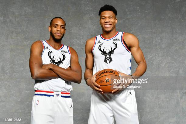 Khris Middleton and Giannis Antetokounmpo of Team Giannis pose for a portrait prior to the 2019 NBA All Star Game on February 17 2019 at Spectrum...
