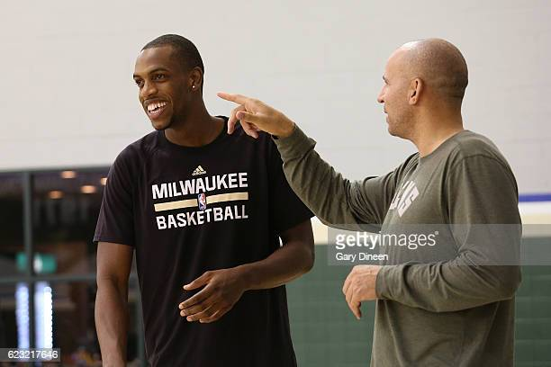 Khris Middleton and Jason Kidd of the Milwaukee Bucks talk during an all access practice on November 9 2016 at the Milwaukee Bucks Training Center in...