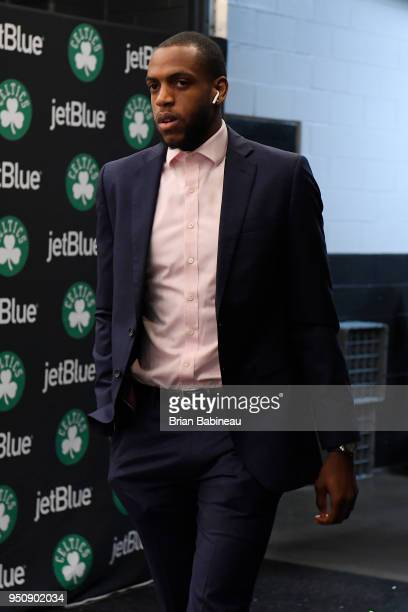 Khris Middleton of the Milwaukee Bucks arrives to the arena prior to Game Five of Round One of the 2018 NBA Playoffs against the Boston Celtics on...
