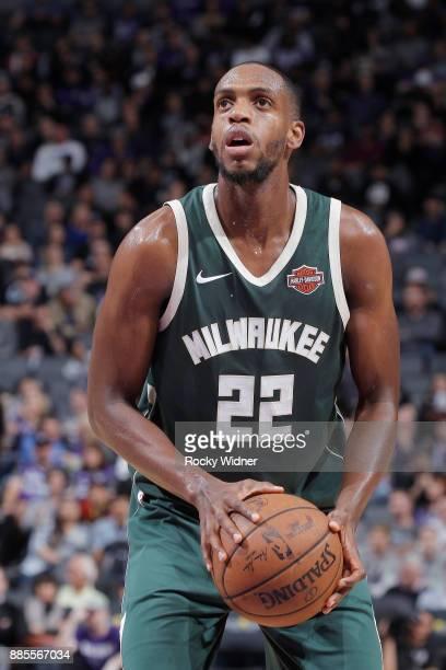 Khris Middleton of the Milwaukee Bucks attempts a freethrow shot against the Sacramento Kings on November 28 2017 at Golden 1 Center in Sacramento...
