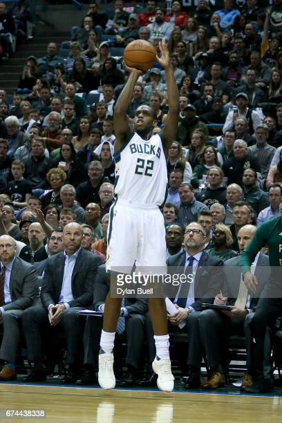Khris Middleton of the Milwaukee Bucks attempts a shot in the first quarter in Game Six of the Eastern Conference Quarterfinals against the Toronto...