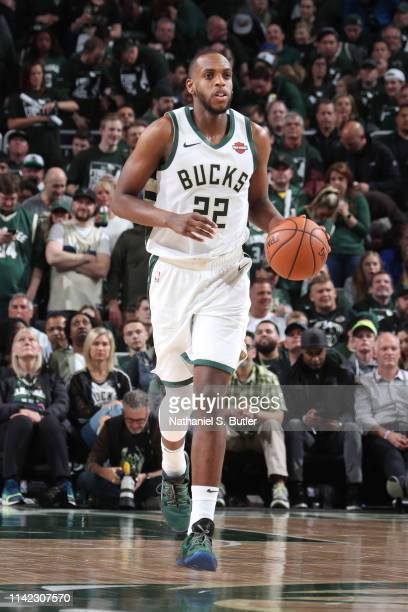 Khris Middleton of the Milwaukee Bucks brings the ball up the court against the Boston Celtics during Game Five of the Eastern Conference Semifinals...