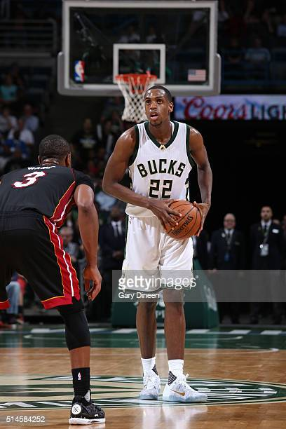 Khris Middleton of the Milwaukee Bucks defends the ball against the Miami Heat during the game on March 9 2016 at BMO Harris Bradley Center in...
