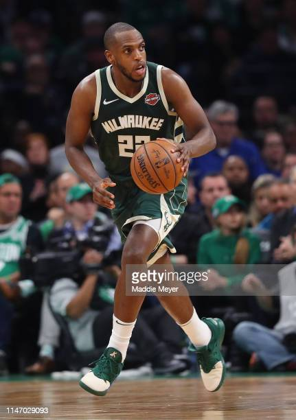 Khris Middleton of the Milwaukee Bucks dribbles against the Boston Celtics during the second half of Game 3 of the Eastern Conference Semifinals of...