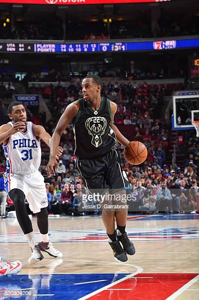 Khris Middleton of the Milwaukee Bucks drives to the basket against the Philadelphia 76ers the at Wells Fargo Center on April 10 2016 in Philadelphia...