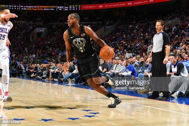 Khris Middleton of the Milwaukee Bucks drives to the basket against the Philadelphia 76ers at Wells Fargo Center on January 20 2018 in Philadelphia...