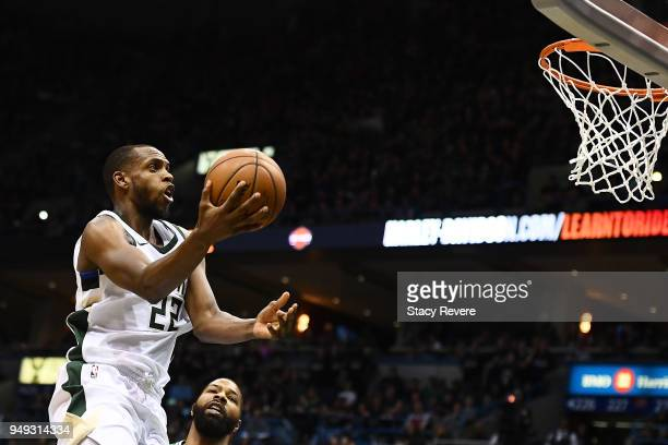 Khris Middleton of the Milwaukee Bucks drives to the basket against the Boston Celtics during the second half of game three of round one of the...