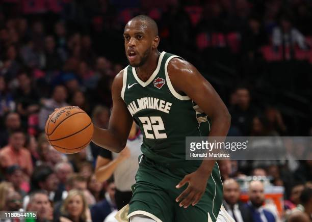 Khris Middleton of the Milwaukee Bucks during a preseason game at American Airlines Center on October 11 2019 in Dallas Texas