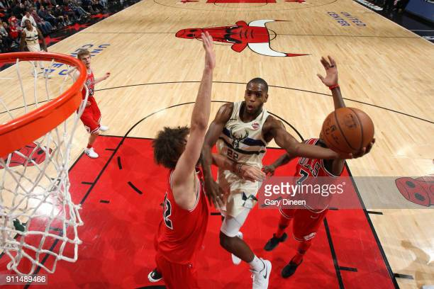 Khris Middleton of the Milwaukee Bucks goes to the basket against the Chicago Bulls on January 28 2018 at the United Center in Chicago Illinois NOTE...