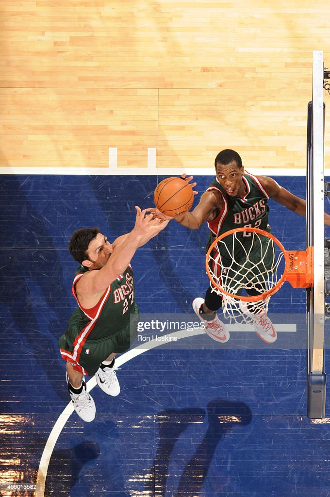 Khris Middleton #22 of the Milwaukee Bucks grabs the rebound against the Indiana Pacers on March 12, 2015 at Bankers Life Fieldhouse in Indianapolis, Indiana.
