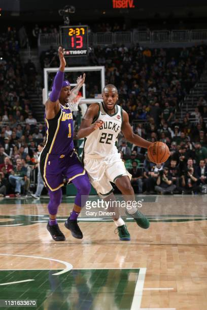 Khris Middleton of the Milwaukee Bucks handles the ball against the Los Angeles Lakers on March 19 2019 at the Fiserv Forum in Milwaukee Wisconsin...