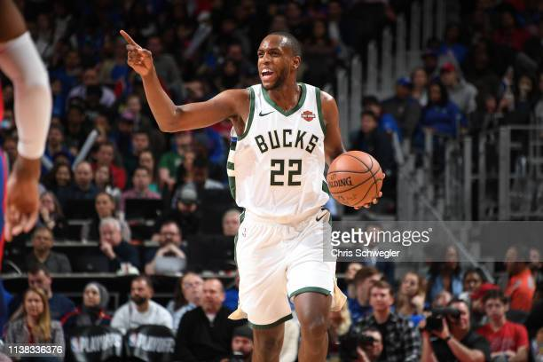Khris Middleton of the Milwaukee Bucks handles the ball against the Detroit Pistons during Game Three of Round One of the 2019 NBA Playoffs on April...