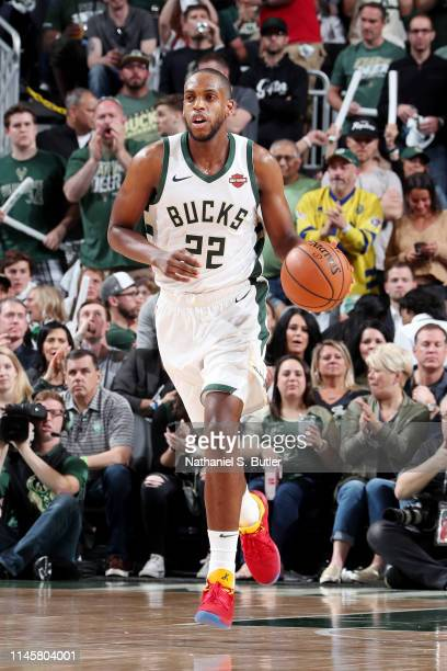 Khris Middleton of the Milwaukee Bucks handles the ball against the Toronto Raptors during Game Five of the Eastern Conference Finals of the 2019 NBA...