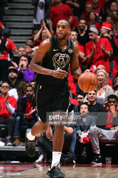 Khris Middleton of the Milwaukee Bucks handles the ball against the Toronto Raptors during Game Six of the Eastern Conference Finals on May 25 2019...