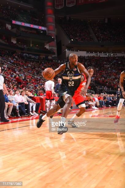 Khris Middleton of the Milwaukee Bucks handles the ball against the Houston Rockets on October 24 2019 at the Toyota Center in Houston Texas NOTE TO...