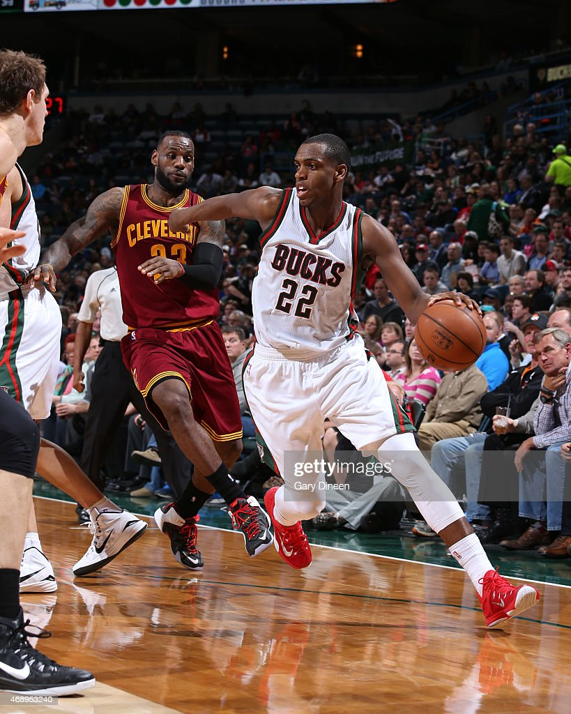 Khris Middleton #22 of the Milwaukee Bucks handles the ball against the Cleveland Cavaliers on April 8, 2015 at BMO Harris Bradley Center in Milwaukee, Wisconsin.