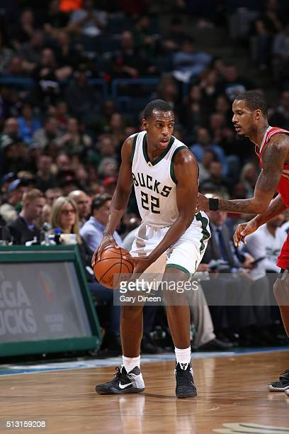 Khris Middleton of the Milwaukee Bucks handles the ball against the Houston Rockets on February 29 2016 at the BMO Harris Bradley Center in Milwaukee...