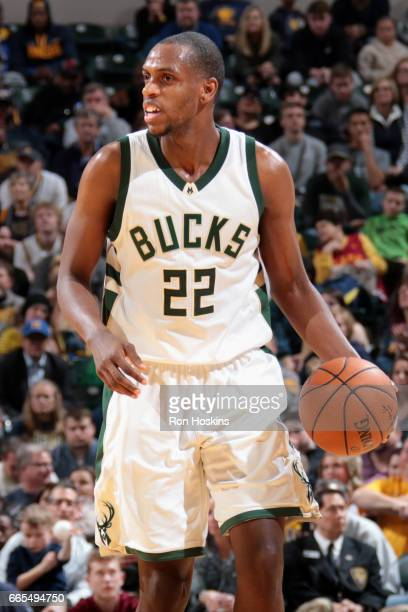 Khris Middleton of the Milwaukee Bucks handles the ball against the Indiana Pacers on April 6 2017 at Bankers Life Fieldhouse in Indianapolis Indiana...