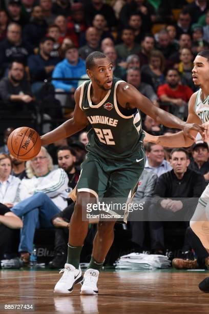 Khris Middleton of the Milwaukee Bucks handles the ball against the Boston Celtics on December 4 2017 at the TD Garden in Boston Massachusetts NOTE...
