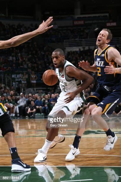 Khris Middleton of the Milwaukee Bucks handles the ball against the Utah Jazz on December 9 2017 at the BMO Harris Bradley Center in Milwaukee...