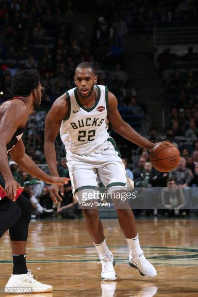 Khris Middleton of the Milwaukee Bucks handles the ball against the Miami Heat on January 17 2018 at the BMO Harris Bradley Center in Milwaukee...