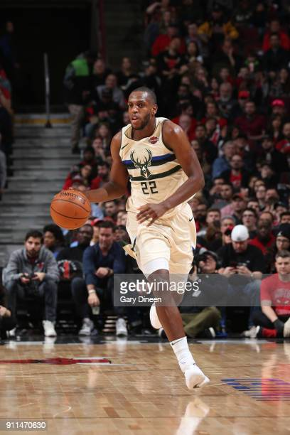 Khris Middleton of the Milwaukee Bucks handles the ball against the Chicago Bulls on January 28 2018 at the United Center in Chicago Illinois NOTE TO...