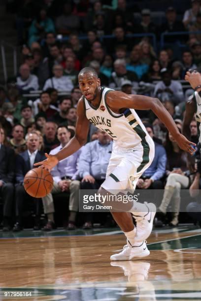 Khris Middleton of the Milwaukee Bucks handles the ball against the Atlanta Hawks on February 13 2018 at the Bradley Center in Milwaukee Wisconsin...