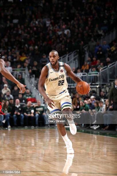 Khris Middleton of the Milwaukee Bucks handles the ball during a game against the Chicago Bulls on January 20 2020 at the Fiserv Forum Center in...