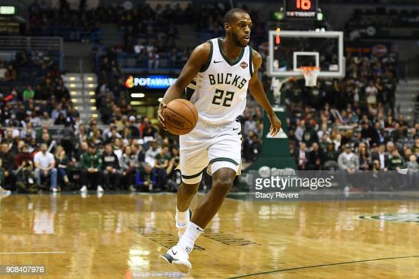 Khris Middleton of the Milwaukee Bucks handles the ball during a game against the Miami Heat at the Bradley Center on January 17 2018 in Milwaukee...