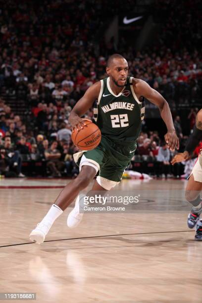 Khris Middleton of the Milwaukee Bucks handles the ball during the game against the Portland Trail Blazers on January 11 2020 at the Moda Center...
