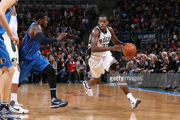 Khris Middleton of the Milwaukee Bucks handles the ball during the game against the Dallas Mavericks on January 8 2016 at the BMO Harris Bradley...
