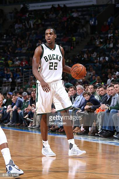 Khris Middleton of the Milwaukee Bucks handles the ball during the game against the Memphis Grizzlies on March 17 2016 at the BMO Harris Bradley...