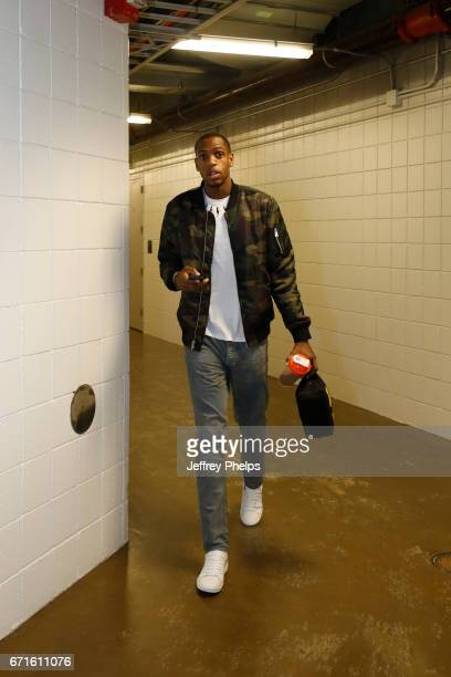 Khris Middleton of the Milwaukee Bucks is seen before the game against the Toronto Raptors during Game Four of the Eastern Conference Quarterfinals...