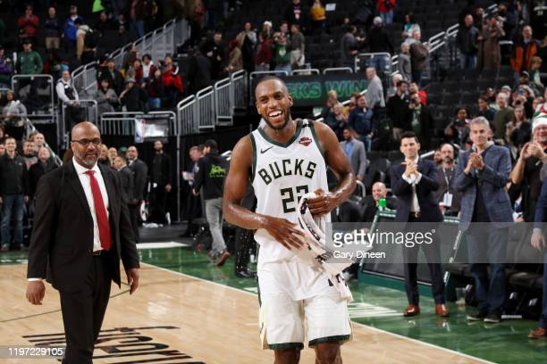 Khris Middleton of the Milwaukee Bucks leaves the floor after the game against the Washington Wizards on January 28 2020 at the Fiserv Forum Center...