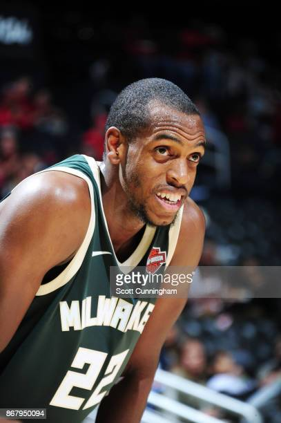 Khris Middleton of the Milwaukee Bucks looks on during the game against the Atlanta Hawks on October 29 2017 at Philips Arena in Atlanta Georgia NOTE...