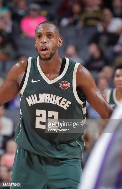 Khris Middleton of the Milwaukee Bucks looks on during the game against the Sacramento Kings on November 28 2017 at Golden 1 Center in Sacramento...
