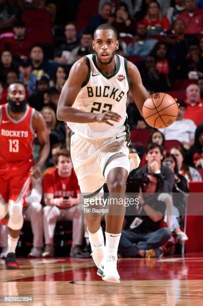 Khris Middleton of the Milwaukee Bucks moves up the court during the game against the Houston Rockets on December 16 2017 at the Toyota Center in...