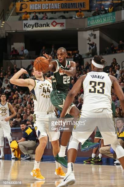 Khris Middleton of the Milwaukee Bucks passes the ball against the Indiana Pacers on December 12 2018 at the Bankers Life Fieldhouse in Indianapolis...
