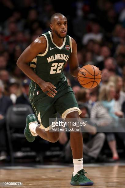Khris Middleton of the Milwaukee Bucks plays the Denver Nuggets at the Pepsi Center on November 11 2018 in Denver Colorado NOTE TO USER User...