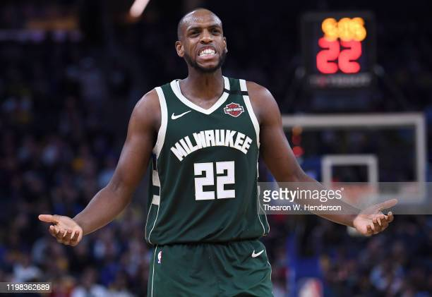 Khris Middleton of the Milwaukee Bucks reacts after being called for a foul against the Golden State Warriors during the second half of an NBA...