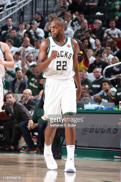 Khris Middleton of the Milwaukee Bucks reacts against the Detroit Pistons during Game One of Round One of the 2019 NBA Playoffs on April 14 2019 at...