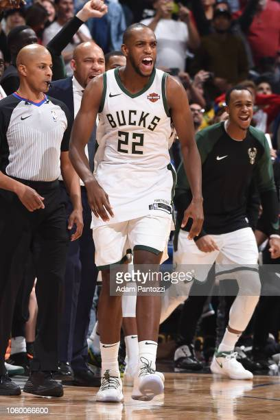 Khris Middleton of the Milwaukee Bucks reacts to the gametying shot against the LA Clippers on November 10 2018 at Staples Center in Los Angeles...