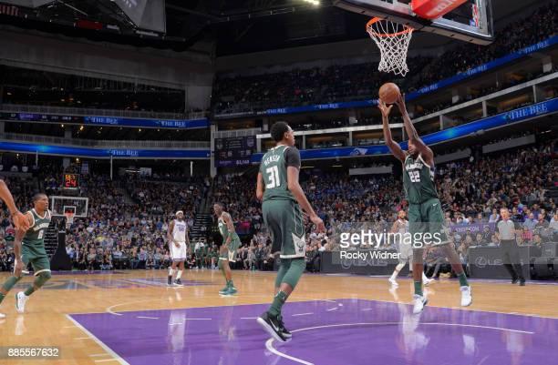 Khris Middleton of the Milwaukee Bucks rebounds against the Sacramento Kings on November 28 2017 at Golden 1 Center in Sacramento California NOTE TO...