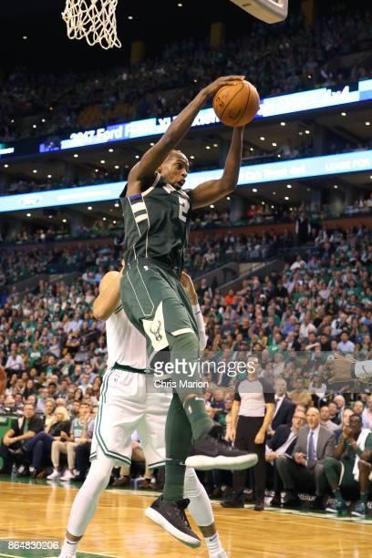 Khris Middleton of the Milwaukee Bucks rebounds the ball during the game against the Boston Celtics on October 18 2017 at the TD Garden in Boston...