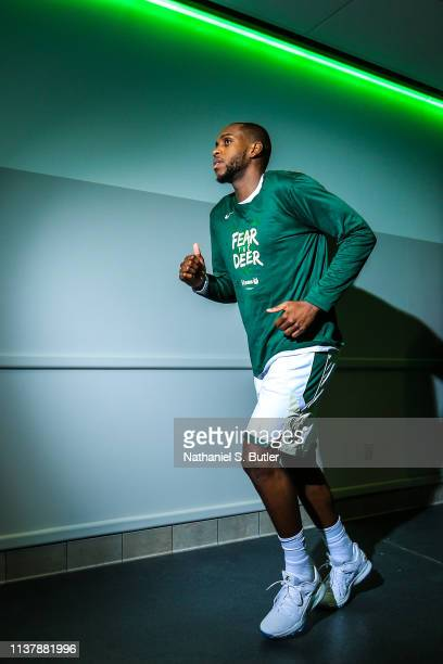 Khris Middleton of the Milwaukee Bucks runs to the court before Game Two of Round One of the 2019 NBA Playoffs against the Detroit Pistons on April...