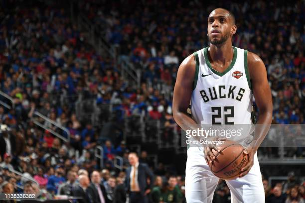 Khris Middleton of the Milwaukee Bucks shoots a free throw against the Detroit Pistons during Game Three of Round One of the 2019 NBA Playoffs on...