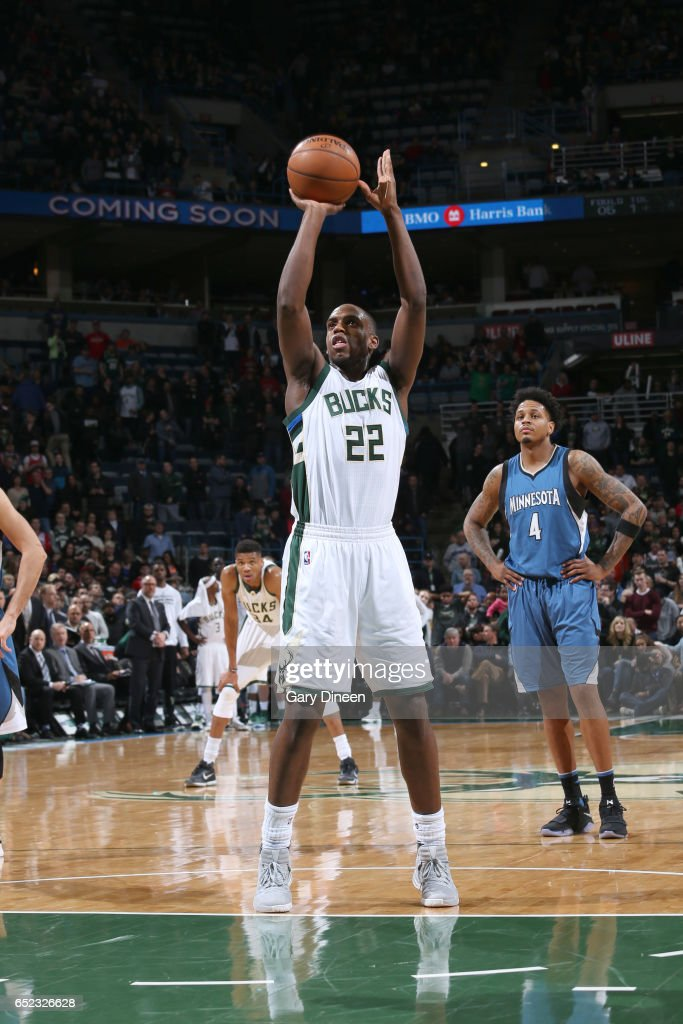 Khris Middleton #22 of the Milwaukee Bucks shoots a free throw against the Minnesota Timberwolves on March 11, 2017 at the BMO Harris Bradley Center in Milwaukee, Wisconsin.
