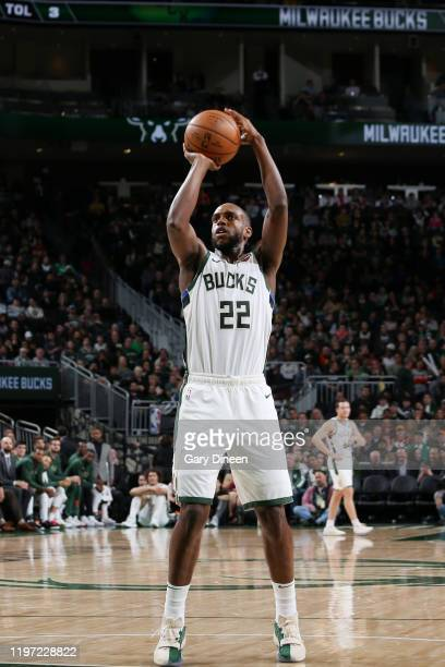 Khris Middleton of the Milwaukee Bucks shoots a free throw during the game against the Washington Wizards on January 28 2020 at the Fiserv Forum...