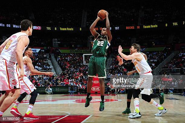 Khris Middleton of the Milwaukee Bucks shoots against the Atlanta Hawks on March 25 2016 at Philips Arena in Atlanta Georgia NOTE TO USER User...